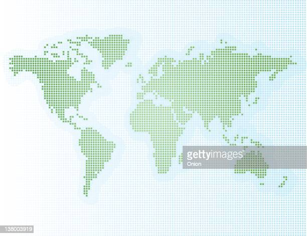 A pixelated map illustration of the world