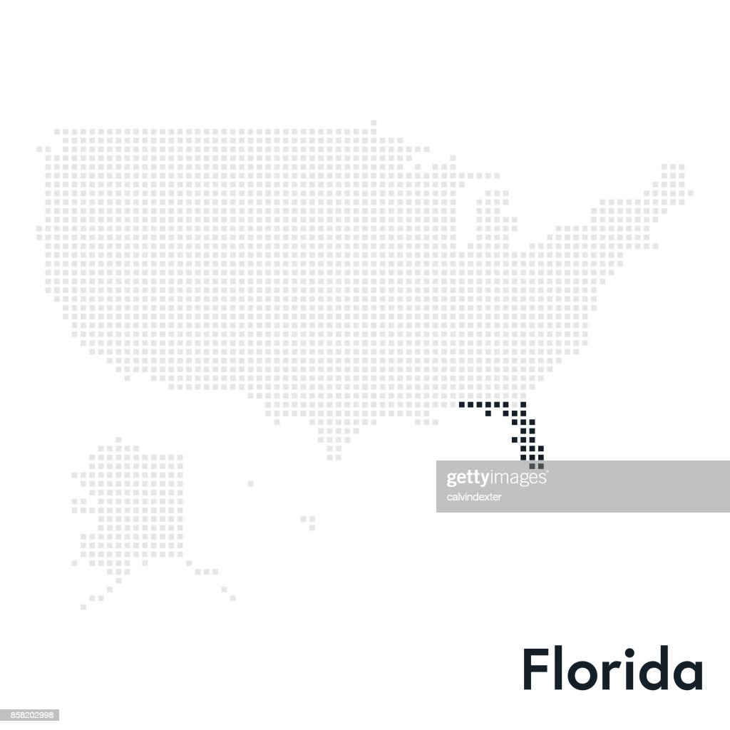 Pixelated Map Of The Usa With Florida State Highlighted Vector Art