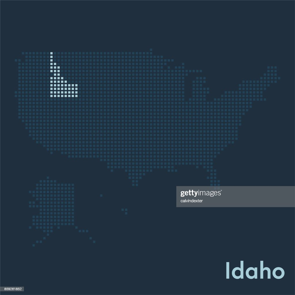 Pixelated Map Of The Usa With Idaho State Highlighted stock vector on mississippi map usa, wisconsin map usa, iowa map usa, oklahoma map usa, connecticut map usa, colorado map usa, new york on map of usa, tulsa map usa, oregon map usa, idaho downtown map usa, yale map usa, california map usa, houston map usa, virginia map usa, unlv map usa, cal poly map usa, ohio map usa, florida map usa, michigan map usa, minnesota map usa,