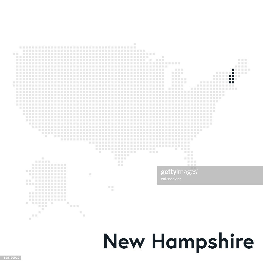 Pixelated Map Of The Usa With New Hampshire State Highlighted Vector