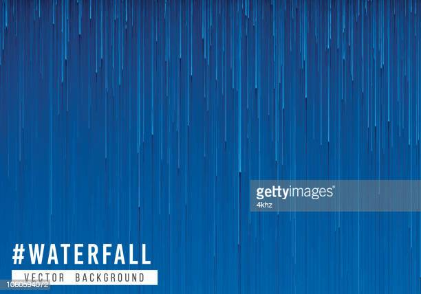 pixelated rain storm abstract texture blue background - waterfall stock illustrations, clip art, cartoons, & icons