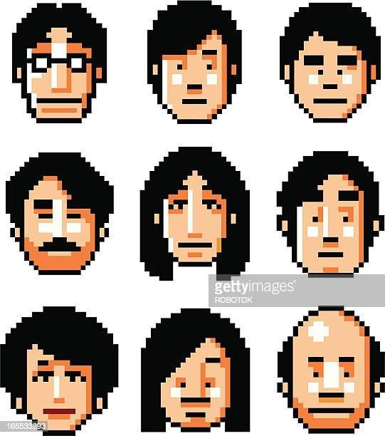 pixelfaces - black hair - only japanese stock illustrations, clip art, cartoons, & icons