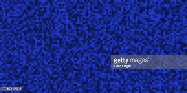 pixellated square shaped abstract background - royal blue background stock illustrations