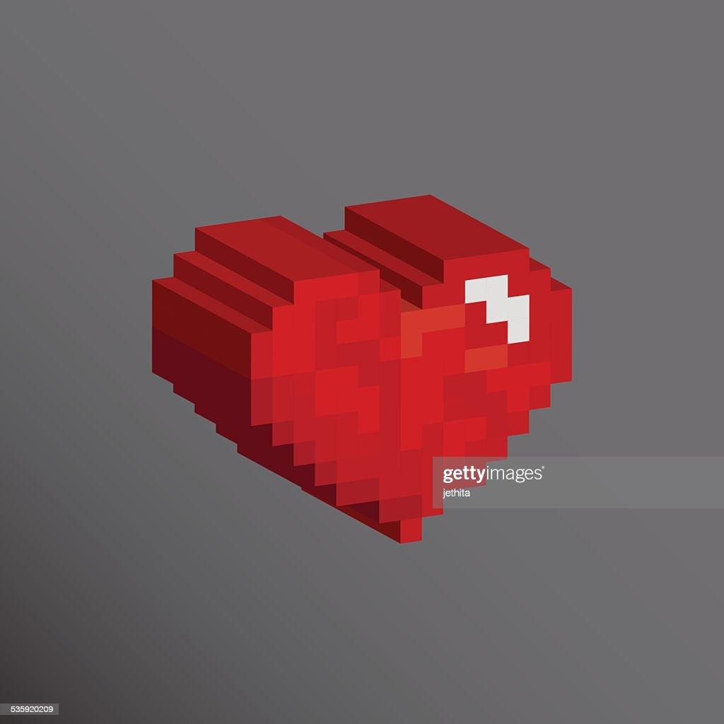 Pixels art 3D heart shape designs love concept : Vector Art