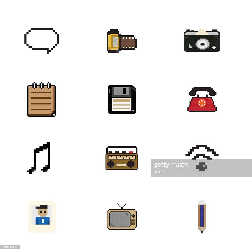 pixels art icon vector illustration : Vector Art