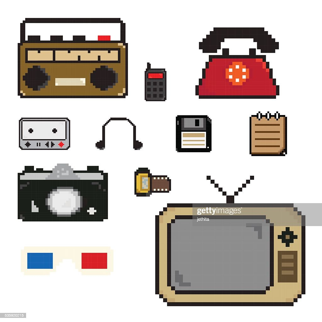 pixels art old item technology icon : Vector Art