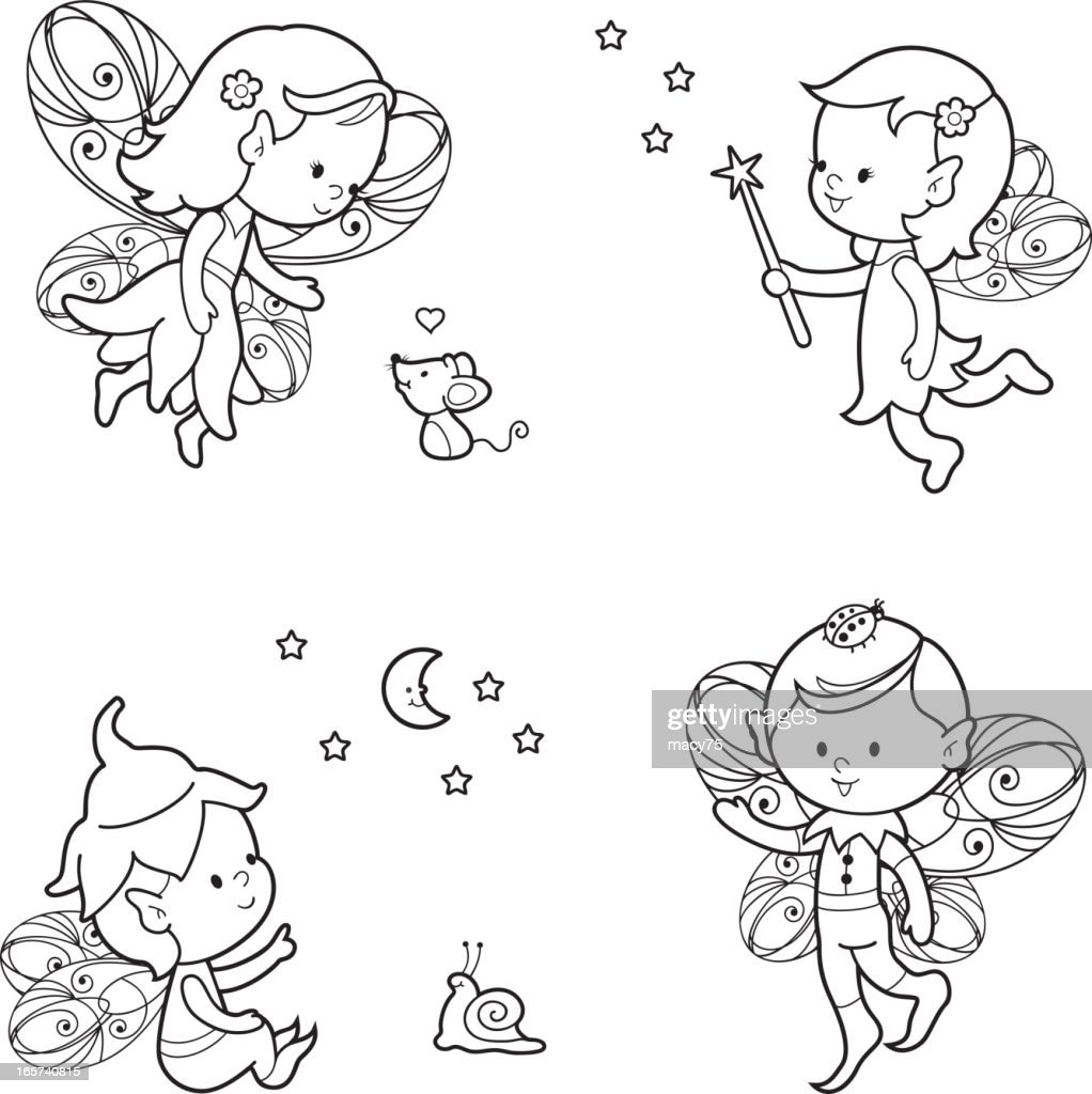 Pixie elf coloring set