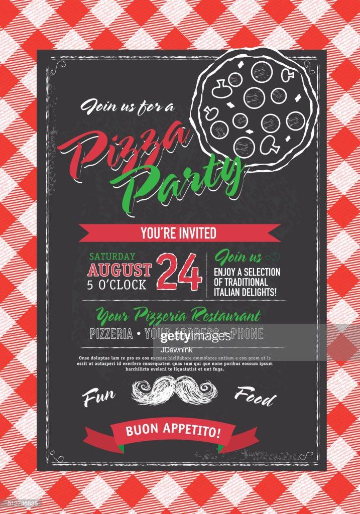 pizza and birthday party invitation design template black white