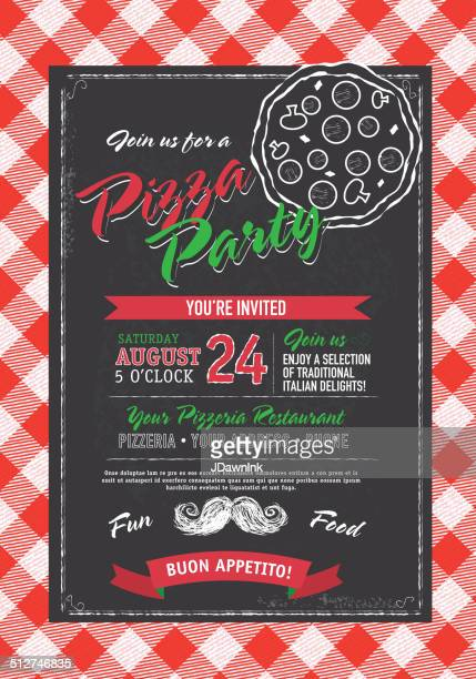 pizza and birthday party invitation design template black white pizza - italy stock illustrations