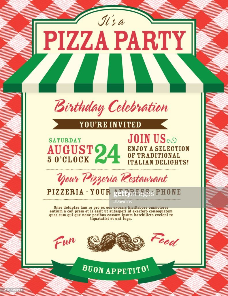 pizza and birthday party invitation design template large red check vector art