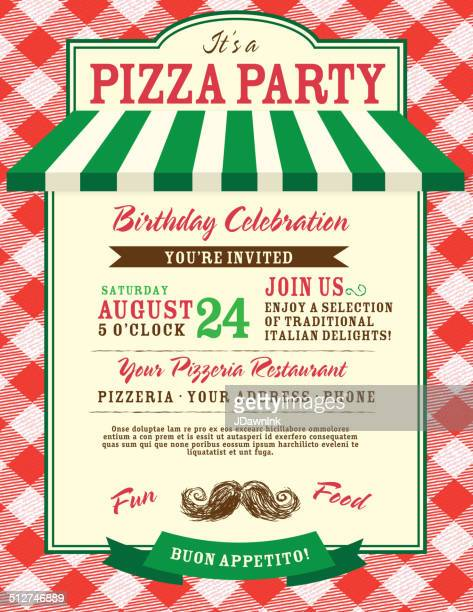 pizza and birthday party invitation design template large red check - tablecloth stock illustrations, clip art, cartoons, & icons
