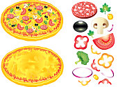 Pizza and ingredients vector illustration