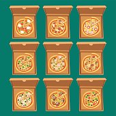 Pizza box vector illustration cardboard carton object package isolated paper container food design delivery lunch packing open square