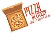 Pizza box vector illustration