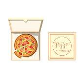 Pizza box vector illustration.