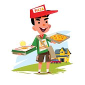 pizza boy holding pizza box. delivery concept character design