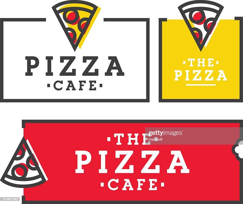 Pizza cafe. Set pizza logo, emblem, label