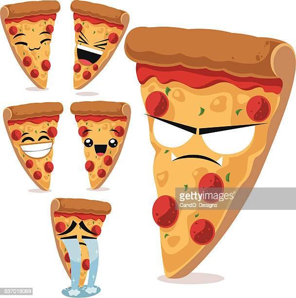 pizza cartoon set b - pepperoni pizza stock illustrations