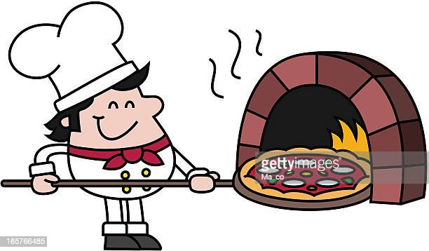 ilustrações de stock, clip art, desenhos animados e ícones de chef com pizza forno - pizzaria