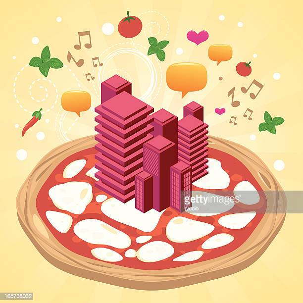 pizza city with skyscrapers - basil stock illustrations, clip art, cartoons, & icons