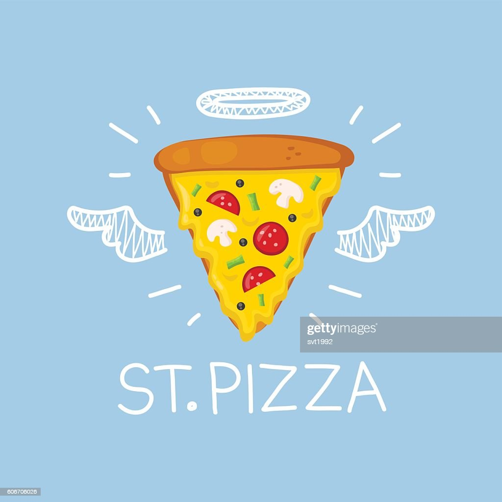 Pizza concept 'St. Pizza' with angel halo and wings