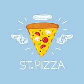 """Pizza concept """"St. Pizza"""" with angel halo and wings"""