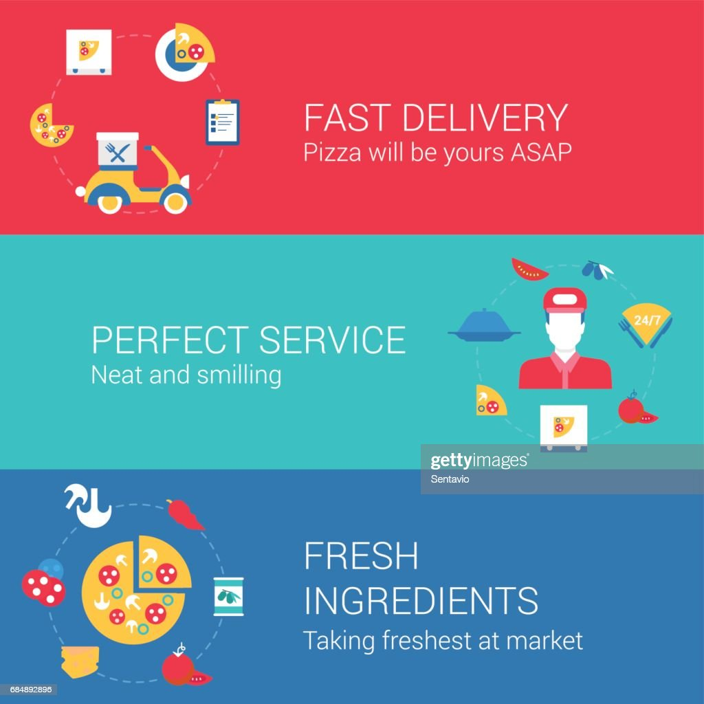 Pizza cook and delivery concept flat icons set of fast delivery perfect service fresh ingredients and vector web illustration website click infographics elements collection.