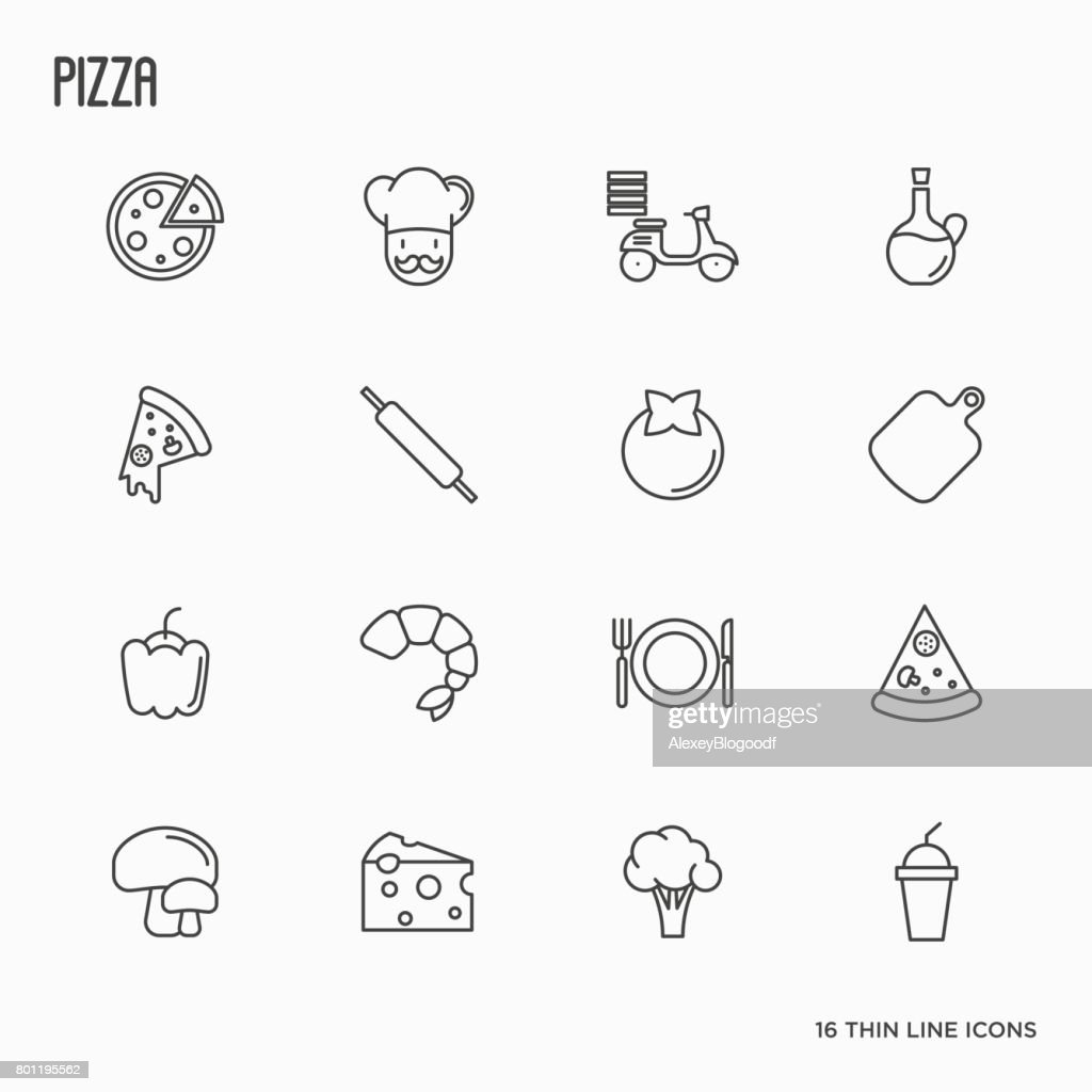 Pizza cooking related thin line icons: tomato, cheese, shrimp, delivery, mushrooms, chef, bike. Vector illustration.