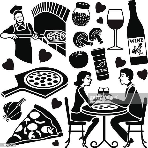 ilustrações de stock, clip art, desenhos animados e ícones de elementos de design de pizza - pizzaria