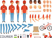Pizza delivery animation. Fast food courier body parts with professional items box bike vector character creation kit