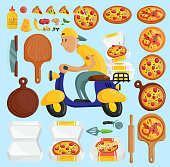 Pizza delivery boy Italian pizzeria cartoon courier on motorbike and deliver dinner icon food box fast party meal scooter pizza in box transportation illustration