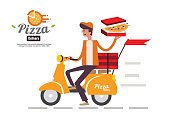 Pizza delivery boy riding motor bike isolated on white background.
