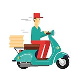 Pizza delivery boy riding motorbike