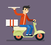 Pizza Delivery Courier Motorcycle Scooter Box Symbol Icon Concept Isolated