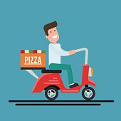 Pizza delivery courier on a scooter. Flat vector illustration.