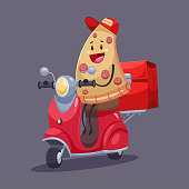 Pizza delivery. Funny food courier character on the moped with a bag. Vector cartoon cute illustration isolated on background.