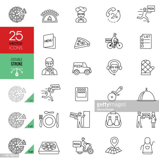 pizza delivery icon set. editable stroke. - courier stock illustrations