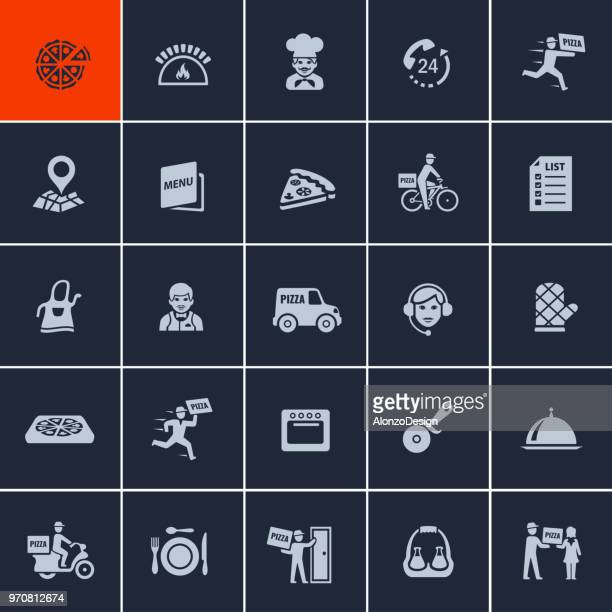 pizza delivery icons - ordering stock illustrations, clip art, cartoons, & icons
