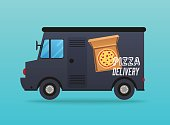Pizza delivery. Local delivery van. Flat design modern vector illustration concept.