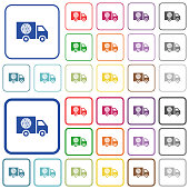 Pizza delivery truck outlined flat color icons