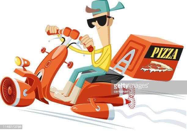 pizza delivery - courier stock illustrations