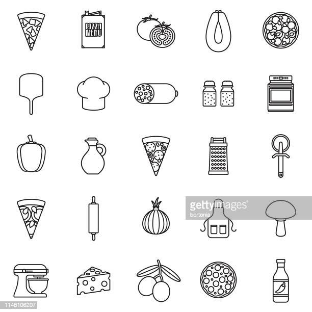 ilustrações de stock, clip art, desenhos animados e ícones de pizza flat design icon set - pizzaria