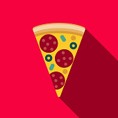 Pizza Flat Design Street Food Icon