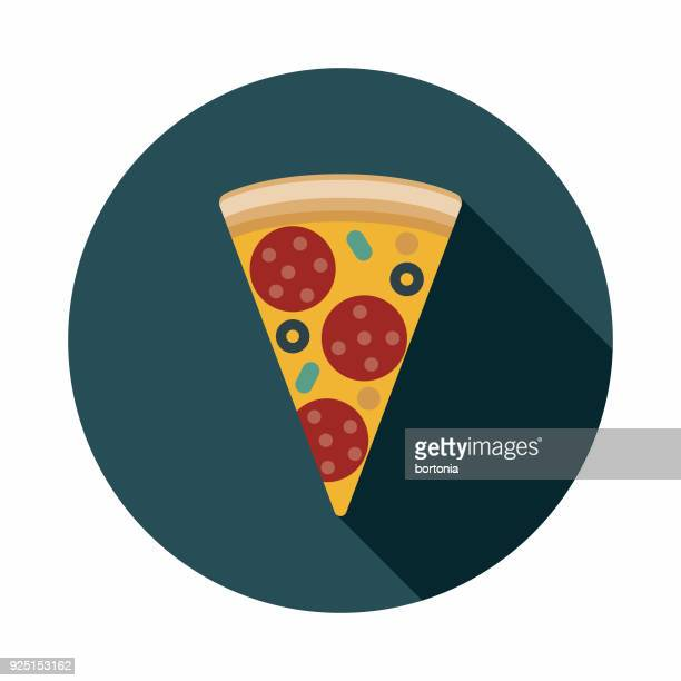 Pizza Flat Design USA Icon with Side Shadow