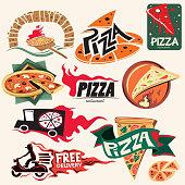Pizza Icon Collection, Restaurant (Vector Art)
