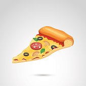 Pizza icon isolated on neutral background.