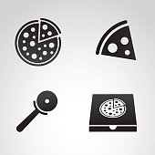 Pizza icon set.