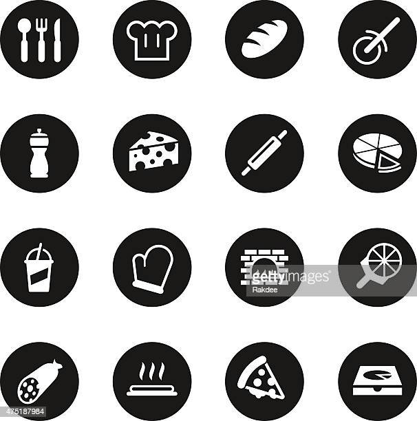 Pizza Icons - Black Circle Series