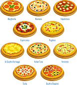 Pizza icons. Italian cuisine menu elements
