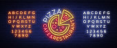 Pizza  in neon style. Neon sign, emblem on Italian food. Pizza cafe, restaurant, fast food, dining room, pizzeria. Night shining pizza advertisement. Vector illustration. Editing text neon sign